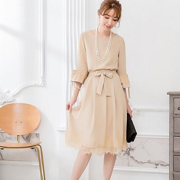[兩件套]淑女五分袖睫毛蕾絲上衣+綁帶及膝裙[88301-S]美之札