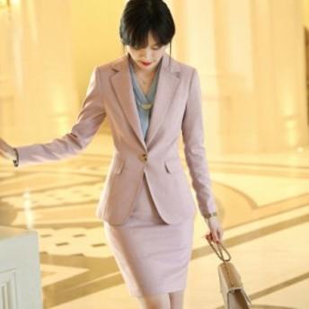 レディース 4点セット テーラードジャケット + ブラウス + パンツ + スカート カジュアル ピンク ブラック 大きいサイズ 送料無料