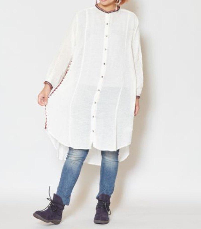 【熱門預購】民族風刺繡長版襯衫 IDS-9302 春裝 送禮 情人節