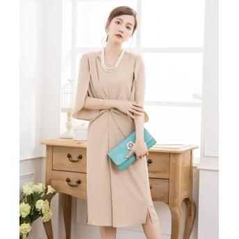 ドレス スター ウエスト絞りデザインワンピースドレス レディース ベージュ Mサイズ 【DRESS STAR】