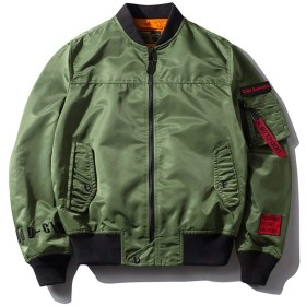 KKOBOLI MA-1ジャケット 男性 アウター メンズジャケットアウター ジャンパー 春空軍爆撃機 ジャケットビッグヤード緩い野球ユニフォームジャケット 薄手 防風 (Color : Green, Size : XS)