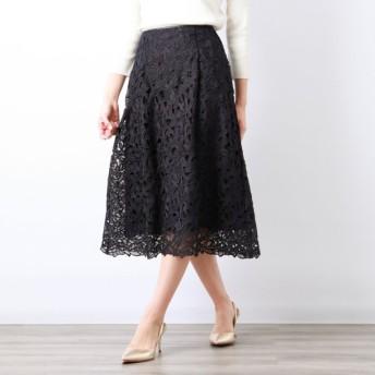 SALE【アマカ(AMACA)】 【COLLECTION LINE】フラワー刺繍スカート ネイビー