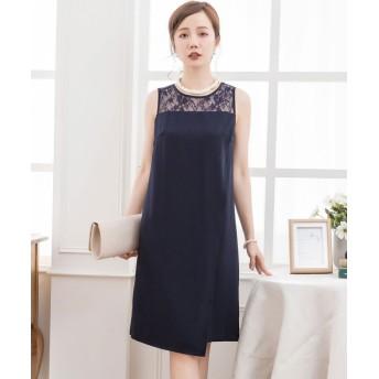 ドレス スター 結婚式・お呼ばれ・フォーマル対応巻きスカート風アシンメトリーなスカートデザインドレス レディース ネイビー Lサイズ 【DRESS STAR】