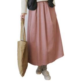ロングスカート 冬 暖かい フレアスカート ロング レディース ロング コーデュロイ スカート skdo0344 (ピンク)