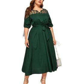 supersweet プラスサイズの女性ハーフタイドスリーブレースVネックウエストタイトラージスイングミディドレス
