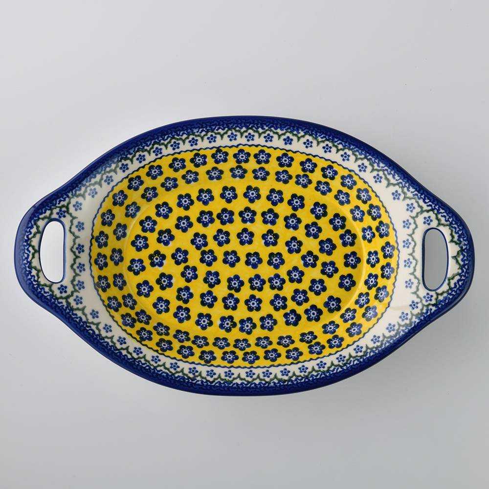 波蘭陶 黃釉青花系列 雙耳長形深餐盤 陶瓷盤 菜盤 沙拉盤 水果盤 32.5cm 波蘭手工製
