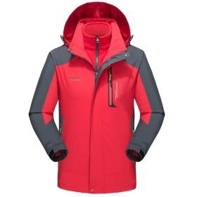 メンズ アウトドア ジャケット 3in1 スキーウェア マウンテンパーカー 保温 ウィンドブレーカー 通気 フリースジャケット ライナー 二着セット フード付 取り外し可能 多機能 登山服 防寒防風防水 春秋冬 男女兼用