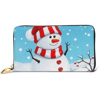 財布 長財布 クリスマス 雪だるま 個性的 ブルー 01 レディース 大容量 おしゃれ かわいい ラウンドファスナー財布 ウォレット 薄型 レザー 本革 小銭入れ 北欧 誕生日プレゼント