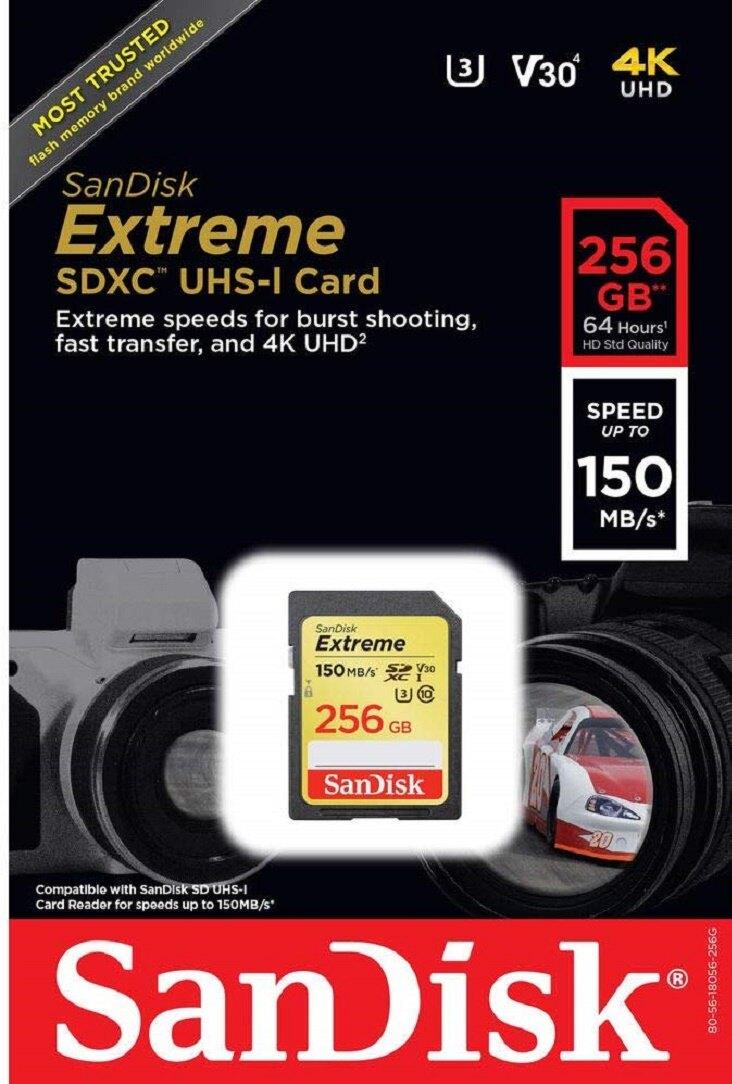 SanDisk 256GB 256G SDXC Extreme【150MB/s】SD SDCH 4K U3 V30 C10 Class 10 SDSDX5V-256G 相機記憶卡