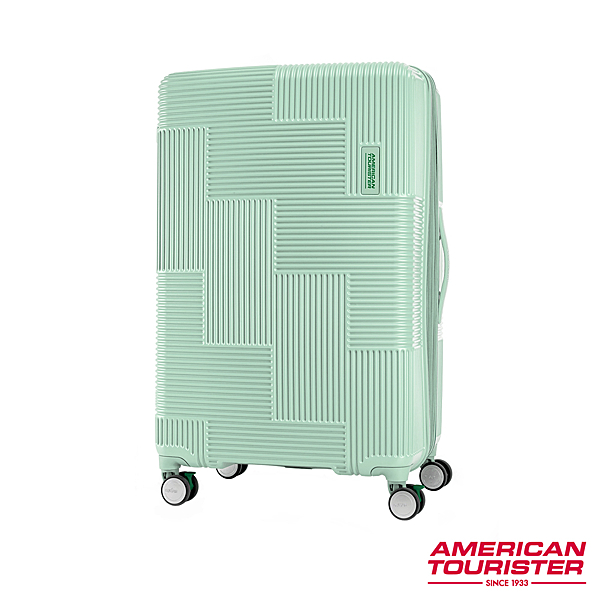 AT 美國旅行者 25吋Velton 跳色幾何防盜拉鍊可擴充剎車輪行李箱 粉綠 GL7*54010