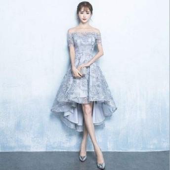 パーティー 結婚式 ドレス オフショルダー フィッシュテール(Gray-Mサイズ)