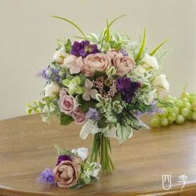 ブーケ 造花 クラッチブーケ カップ咲きローズ アンティークモーブ ナチュラル ウェディング 送料無料 B_0169