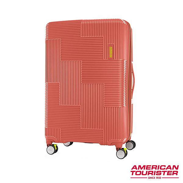 AT 美國旅行者 30吋 Velton 跳色幾何防盜拉鍊可擴充剎車輪行李箱 磚紅 GL7*90011
