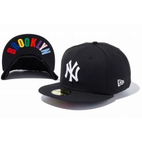 NEW ERA ニューエラ 59FIFTY UNDERVISOR ニューヨーク・ヤンキース ブラック × ホワイト BROOKLYNマルチカラー ベースボールキャップ キャップ 帽子 メンズ レディース 7 (55.8cm) 12336655 NEWERA