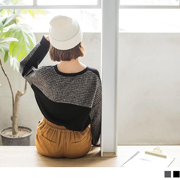 《AB5487》混色背拼接格紋造型衛衣上衣 OrangeBear