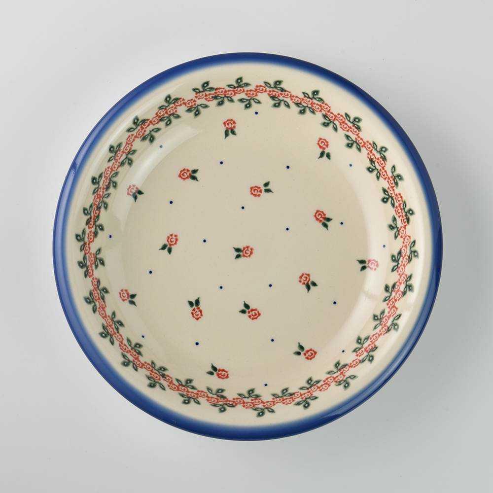 波蘭陶 玫瑰花圈系列 圓形深餐盤 陶瓷盤 圓盤 菜盤 水果盤 22cm 波蘭手工製 -618年中慶