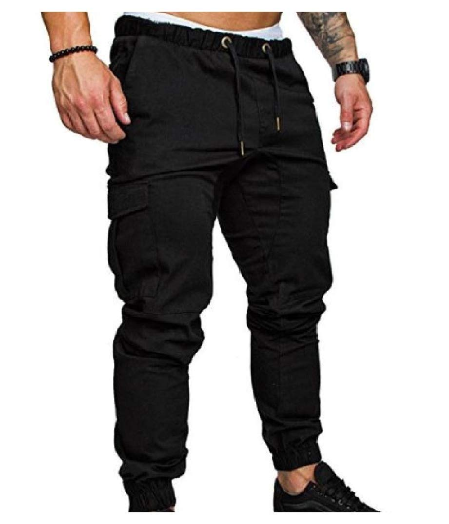 YUNY Men Pockets Pure Color Cargo Pants Fitted Waist Tie Casual Pants Wine Red 31