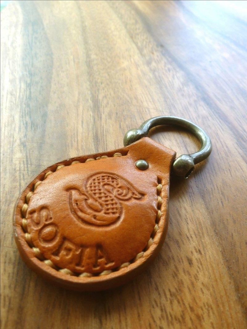 手縫植鞣革鑰匙圈/免費打英文名(內加悠遊晶片卡)