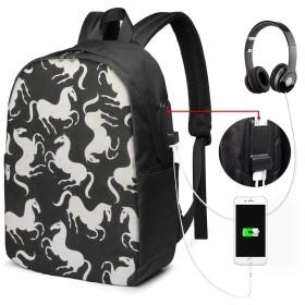 馬柄 バッグ 17インチ USB充電ポート付き バックパック 調節可能なショルダーストラップ アウトドアリュック 登山リュック 季節新品 多機能 通学 通勤 出張 旅行用 大容量 黒 メンズ レディース通用