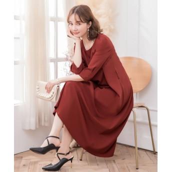 ドレス スター フレアロング丈結婚式ワンピース レディース レッド XLサイズ 【DRESS STAR】