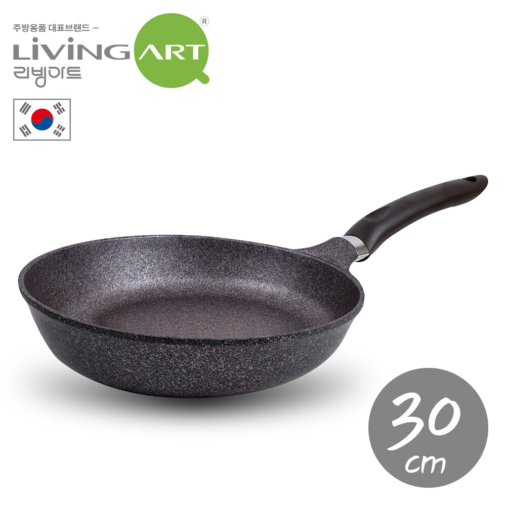 韓國living art超硬鑄造inoble不沾平煎鍋-30cm
