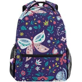 NR 新しい軽量おしゃれ学校バックパック蝶と花のカラフルな民俗パターン旅行ハイキングキャンプバッグ多機能 遠足 おしゃれ