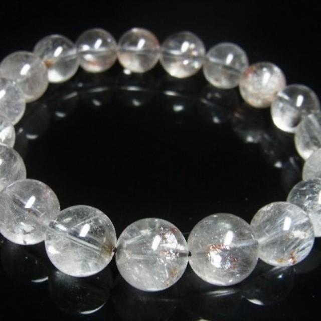 希少 レア 現品一点物 プラチナルチル オーロラ レインボークォーツ ブレスレット 12ミリ 白金水晶 天然石 数珠