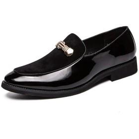 [GERUIQI] パーソナライズステッチアッパーフォーマルシューズ付き男性ファッションカジュアルエレガントメタリックアクセサリーオックスフォード 快適な男性のために設計 (Color : Black, Size : 39 EU)