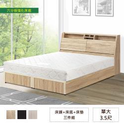 IHouse-長島 插座床頭、強化床底、舒柔硬床 三件組-單大3.5尺