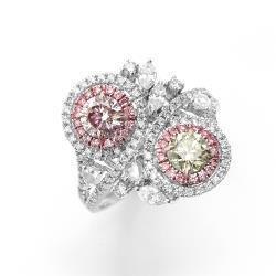 雅紅珠寶 雙GIA-0.51CT-0.52CT-粉棕-黃綠彩鑽戒指