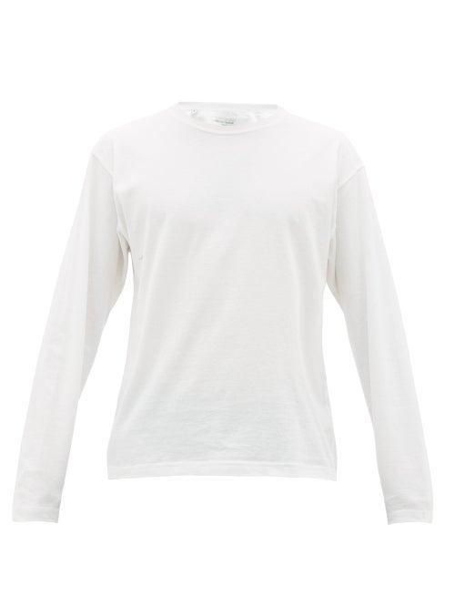 Bottega Veneta - Logo-embroidered Cotton Long-sleeved T-shirt - Mens - White