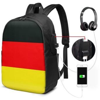 German Flag ドイツの旗 リュック PC ビジネスバックパック リュックサック大容量 ラップトップバック USB充電ポート付き 防水 通学 出張 旅行用 男女兼用 17インチ