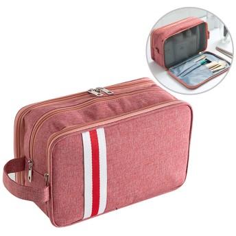 旅行化粧バッグ 化粧ポーチ 旅行化粧ボックス 洗面用具入れ 多機能 化粧ブラシ収納袋 シンプル 大容量 小物入れ 旅行用 出張用 化粧道具入れ おしゃれ 男女兼用,赤,S
