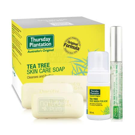澳洲星期四農莊-茶樹潔顏慕斯+茶樹修護棒+茶樹純淨皂x3超值優惠組