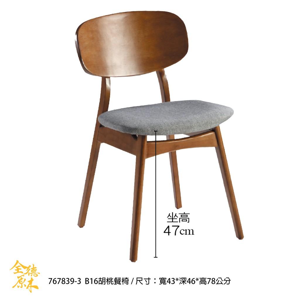 767 布餐椅/北歐風餐椅/書桌椅/休閒椅/洽談椅/接待椅/B16胡桃餐椅