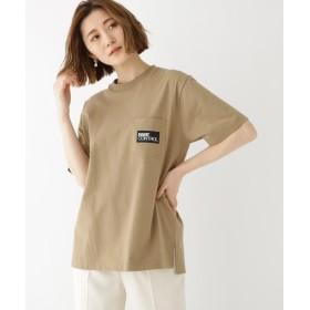 ベースステーション BOX ロゴ 刺繍 半袖 Tシャツ レディース ベージュ(052) 99(FREE) 【BASE STATION】