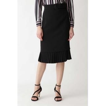 ダブルクロス裾プリーツスカート ブラック