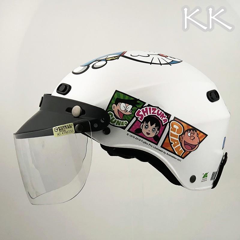 KK 雪帽 附鏡片 哆拉A夢 06 亮白色 小叮噹 大雄 大人款 825 半罩 安全帽 正版授權【23番】