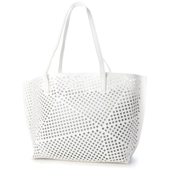 ヴィータフェリーチェ VitaFelice パンチングバッグ トートバッグ レディースバッグ A4 メッシュ バッグ インナーバッグ バッグインバッグ (WHITE)