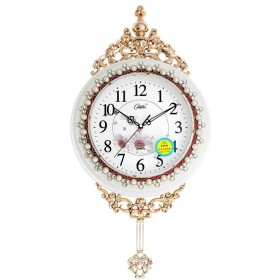 YVCHEN 壁掛け時計ヨーロッパの牧歌的なアンティークミュートリビングルームクォーツ時計は時計クリエイティブファッション時計ウォール・チャートスイング 時計・掛け時計 (Color : F)