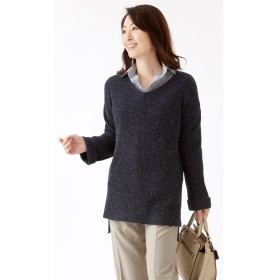 ゆったり軽やかVネックセーター(2色組)ネイビー・グレーM