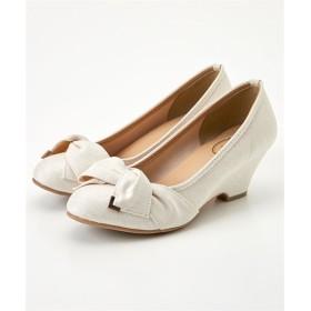 ひねりリボンウェッジパンプス(低反発中敷) パンプス, Pumps, 浅口皮鞋, 淺口皮鞋