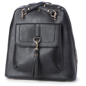 ヴィータフェリーチェ VitaFelice リュックサック ショルダーバッグ レディースバッグ 2wayバッグ 大容量 通勤通勤通学バッグ (BLACK)