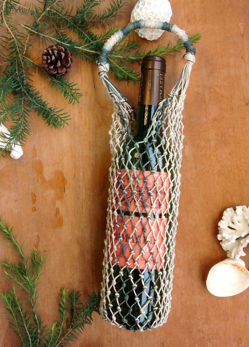 美國麻線手工編織袋 原麻森林系-保溫瓶-酒瓶-手搖杯-冰壩杯
