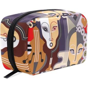 VINISATH 化粧ポーチ、抽象的な音楽的な背景のベクトル図、ミニ ポーチ 可愛おしゃれ コスメポーチ 軽量 旅行 化粧バッグ ポーチ 収納 大容量