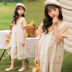 子供服 セットアップ 夏 韓国子供服 女の子 ジュニア キッズ 上下セット 2点セット 半袖 Tシャツ デニムパンツ サロペット 可愛い おしゃ
