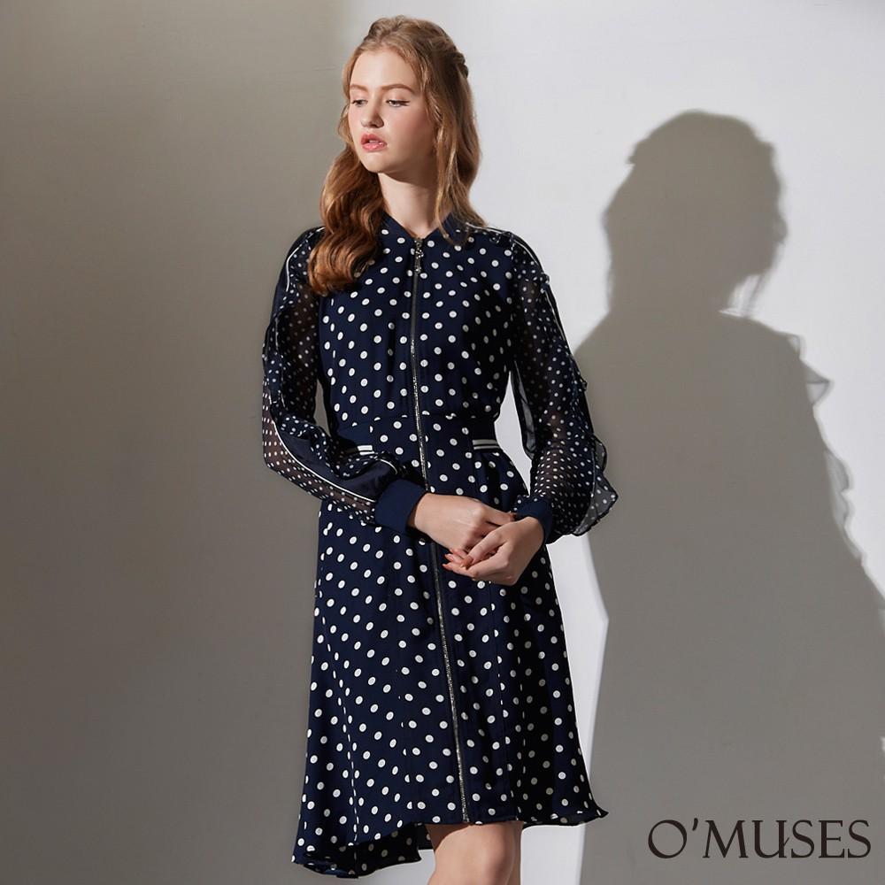 【OMUSES】點點荷葉雪紡袖前拉鍊洋裝Y28-23939