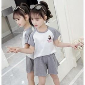子供服 セットアップ キッズ 女の子 韓国子供服 上下セット 2点セット トップス 半袖 Tシャツ ショートパンツ 短パン 可愛い 春夏 通学着