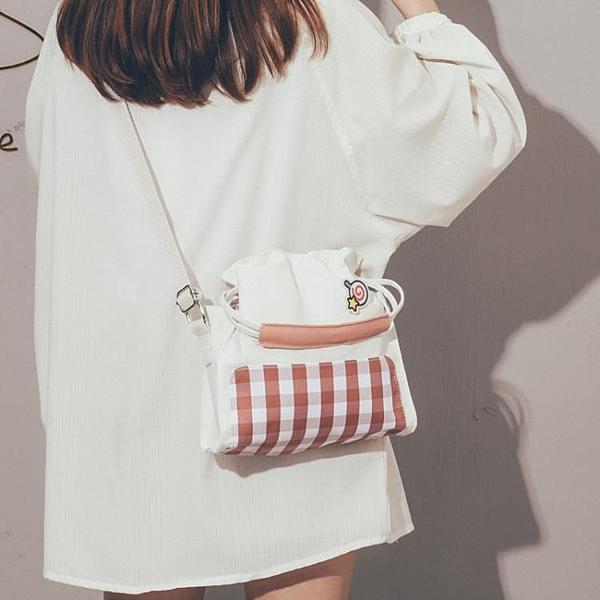 斜背包女韓版原宿風文藝森系大容量帆布包【聚可愛】