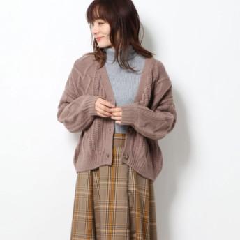 ジーラ GeeRA 【WEB限定】ハートケーブルショート丈カーディガン (モカ)